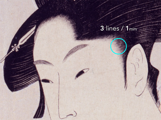 Achieving the thin hairline of traditional courtesan prints is thought to be the highest demonstration of skill by the woodblock carver.
